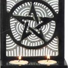 Soapstone Pentagram Double T-Light Candleholder- Black - metaphysical