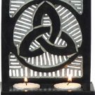 Soapstone Triquetra Celtic Double T-Light Candleholder- Black - metaphysical