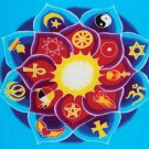 Universal Lotus Mandala Banner - 16 spiritual traditions symbolized - metaphysical