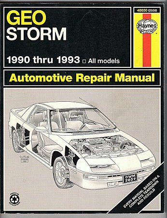 Haynes Automotive Repair Manual Geo Storm 1990 thru 1993 All Models