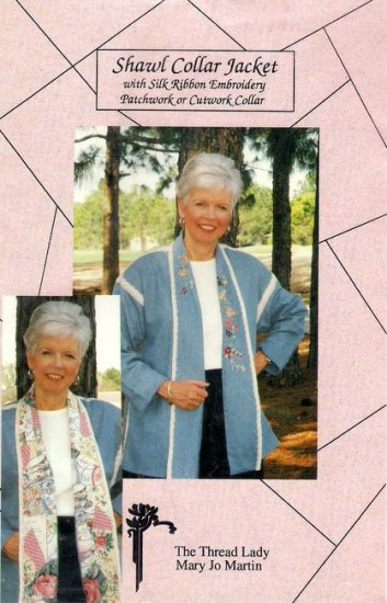 Womens Sewing Pattern Shawl Collar Jacket Silk Ribbon Embroidery Cutwork Patchwork Collar Uncut