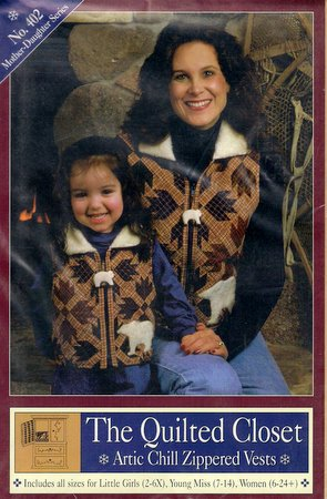 Quilted Closet Sewing Pattern Arctic Chill Zippered Vests Girls Misses Womens Sizes Mother Daughter