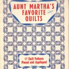 Aunt Martha's Favorite Quilts No. 3230 Pieced and Appliqued Quilting Patterns