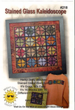 Stained Glass Kaleidoscope Mini Quilt Pattern Herky Jerky Stitched 16 Blocks Quick Easy Quilting