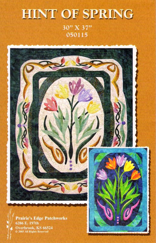 Hint of Spring Wall Hanging Quilt Pattern Fusible or Traditional Applique Quilting