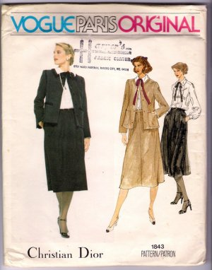 Vintage 1970s Christian Dior Vogue Paris Original Sewing Pattern 1843 Sz 14 Misses Suit Uncut
