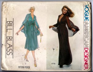 Vintage 1970s Bill Blass Vogue American Designer Sewing Pattern 1775 Size 14 Misses Halter Dress