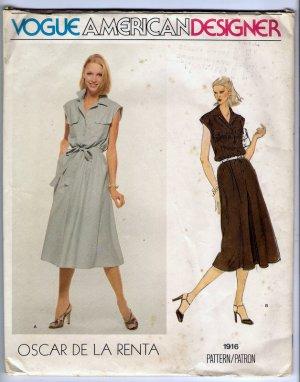 Vintage 1970s Oscar de la Renta Vogue American Designer Sewing Pattern 1916 Size 14 Misses Dress