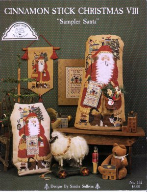 Sampler Santa Cross Stitch Pattern Chart Leaflet Christmas Homespun Elegance