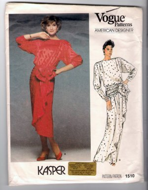 Vintage 1985 Kasper Vogue American Designer Sewing Pattern 1510 Size 12 Blouson Dress Uncut