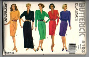 1990 Butterick 5102 Sewing Pattern Uncut Misses' Dress Mock Sarong Overlay Size 12 14 16