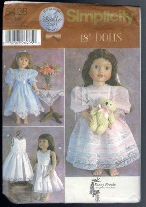 """Simplicity 5428 Sewing Pattern Fancy Frocks Susan Payne Fits 18"""" Dolls Like American Girl Uncut"""