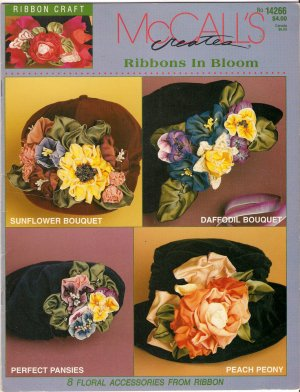 Make Ribbon Flower Accessories Roses Sunflower Pansies Daffodil Violets Peony