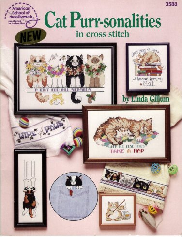 Cat Cross Stitch Chart Pattern Booklet 16 Whimsical Designs Linda Gillum