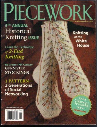 Piecework Magazine 2011 Knitting Gunnister Stockings Orenburg Snowflake Scarf Tartan Socks