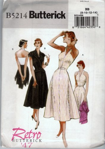 Butterick B5214 Sewing Pattern Easy Retro '47 Jacket and Halter Dress Sizes 8 10 12 14 Uncut