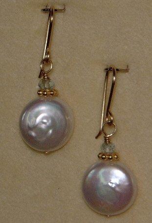 LUSTEROUS WHITE COIN PEARL & BLUE TOPAZ DANGLE EARRINGS