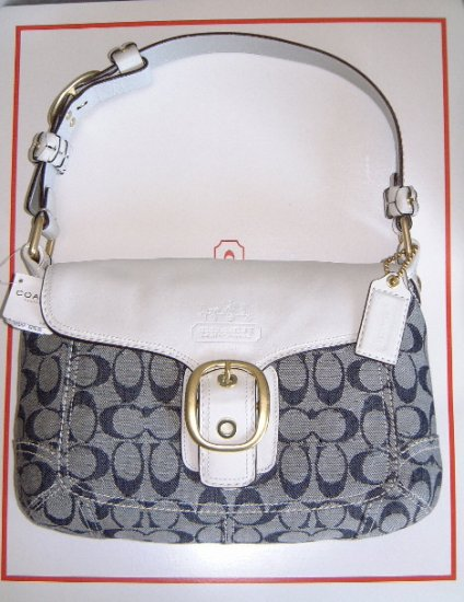 Authentic Coach Bleecker Denim & White Signature Flap Handbag Style #11772