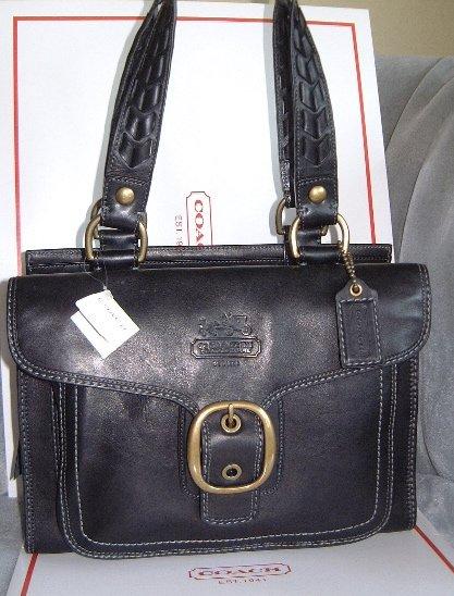 Authentic Coach Black Leather Bleecker Shopper Style #11420