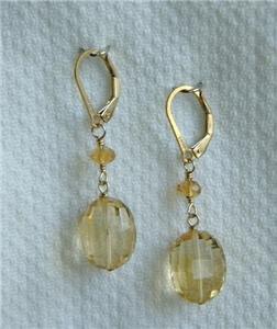 Stunning Citrine Gemstone 14KGF Dangle Earrings