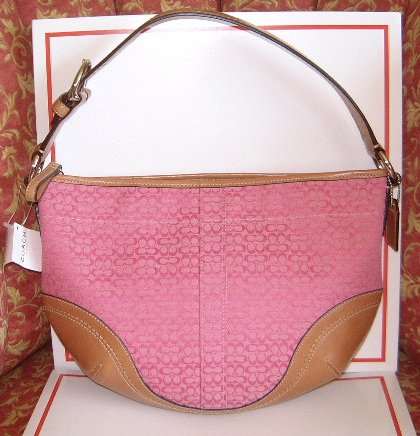 "AUTHENTIC COACH SOHO PINK SIGNATURE ""C"" FABRIC & LEATHER HOBO HANDBAG PURSE STYLE #10924"