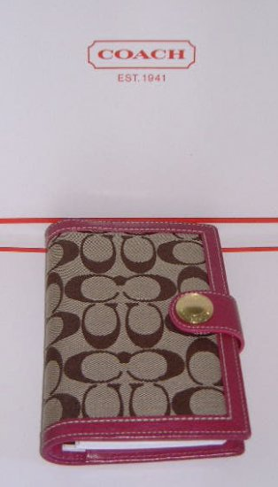 Authentic Coach Signature  Khaki w/ Raspberry Pink Leather 4x7 Planner 08/09