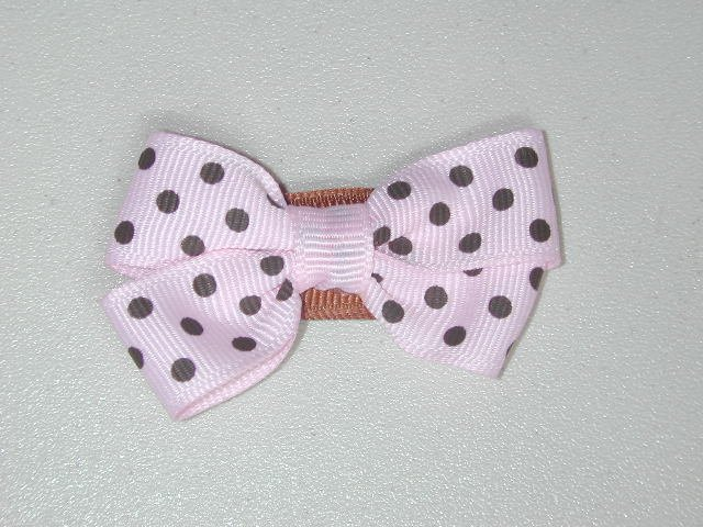 "2"" baby bow - pink & brown"