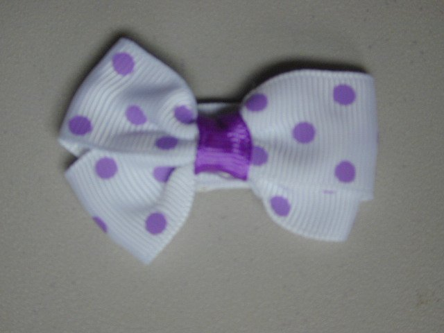 """2"""" baby bow - white & lavender"""