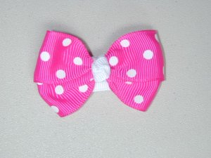 "2"" baby bow - shocking pink & white"