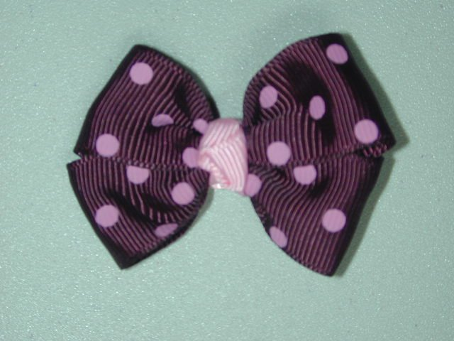 "2"" baby bow - raisin & pink"