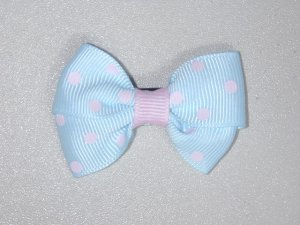 """2"""" baby bow - light blue & pink"""