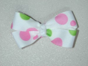 """2"""" baby bow - white w/ pink & green dots"""
