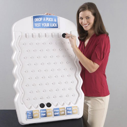White Mini Plinko Game with Three Pucks