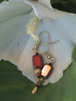 Opaque Red Czech Glass  Square & Gold I