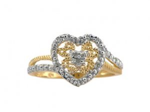 Diamond and Gold Heart Ring