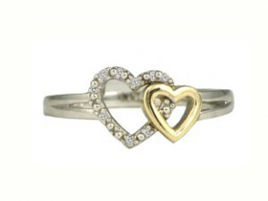 Gold Rings - Two Tone Gold Diamond Heart Ring