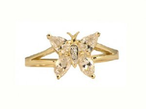 10K Gold White Topaz & Diamond Butterfly Ring