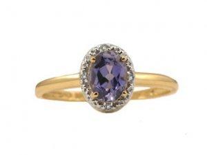 Diamond and Oval Tanzanite Yellow Gold Ring