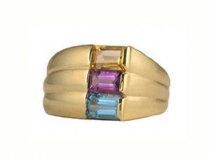 10K Gold Amethyst, Blue Topaz, Citrine Multi Gemstone Ring