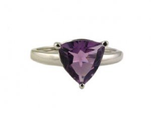 Birthstone Rings - White Gold Amethyst Birthstone Ring