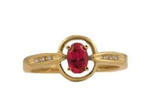 Yellow Gold Oval-Cut Ruby and Diamond Ring
