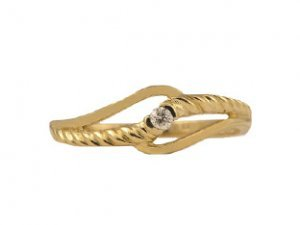 Diamond and Yellow Gold Braided Ring