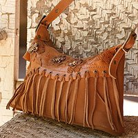 Leather shoulder bag, 'Bees to Honey' 115867