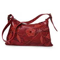 Leather shoulder bag, 'Floral Fire' 130736