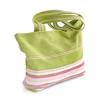 Alpaca wool handbag, 'Lime Strawberry '130737