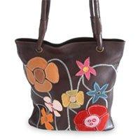 Leather handbag, 'Wildflowers' 130738
