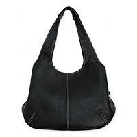 Leather shoulder bag, 'Urban Black' 131036