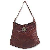 Leather handbag, 'Tiger Eye' 131186