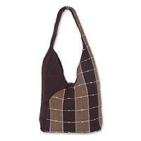 Cotton shoulder bag, 'Fudge Brownie' 145778