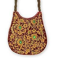 Silk handbag, 'Wine Garden' 145984